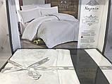 Комплект  постельного белья  жаккард ТМ Nazenin евро размер Serena beyaz, фото 2