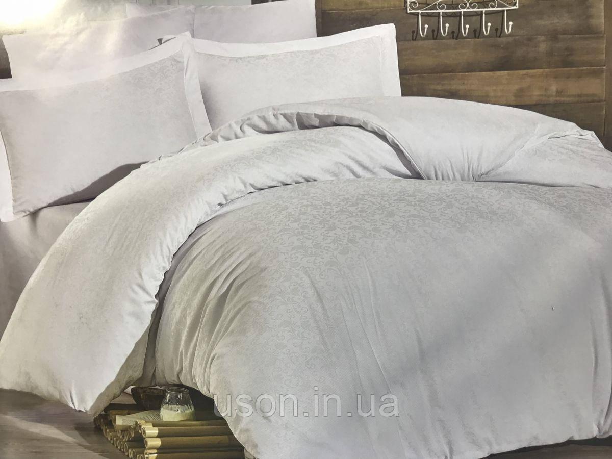 Комплект  постельного белья  жаккард ТМ Nazenin евро размер Serena beyaz