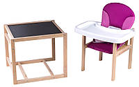 Стульчик- трансформер Babyroom Пони-230 eko без лака пластиковая столешница  малина-розовый, фото 1