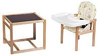 Стульчик- трансформер Babyroom Пони-210 лакированный пластиковая столешница  желтый (мишки, звезды), фото 1