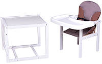 Стульчик- трансформер Babyroom Пони-240 белый пластиковая столешница  капучино-шоколад, фото 1