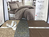 Комплект  постельного белья  жаккард ТМ Nazenin евро размер Serena kahve, фото 2