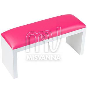 Подлокотник для маникюра на белых ножках с розовой подушкой