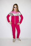 Детский спортивный костюм со стразами оптом 122-140 малиновый, фото 1