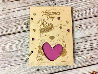 Подарки на 14 февраля. Деревянные открытки и блокноты