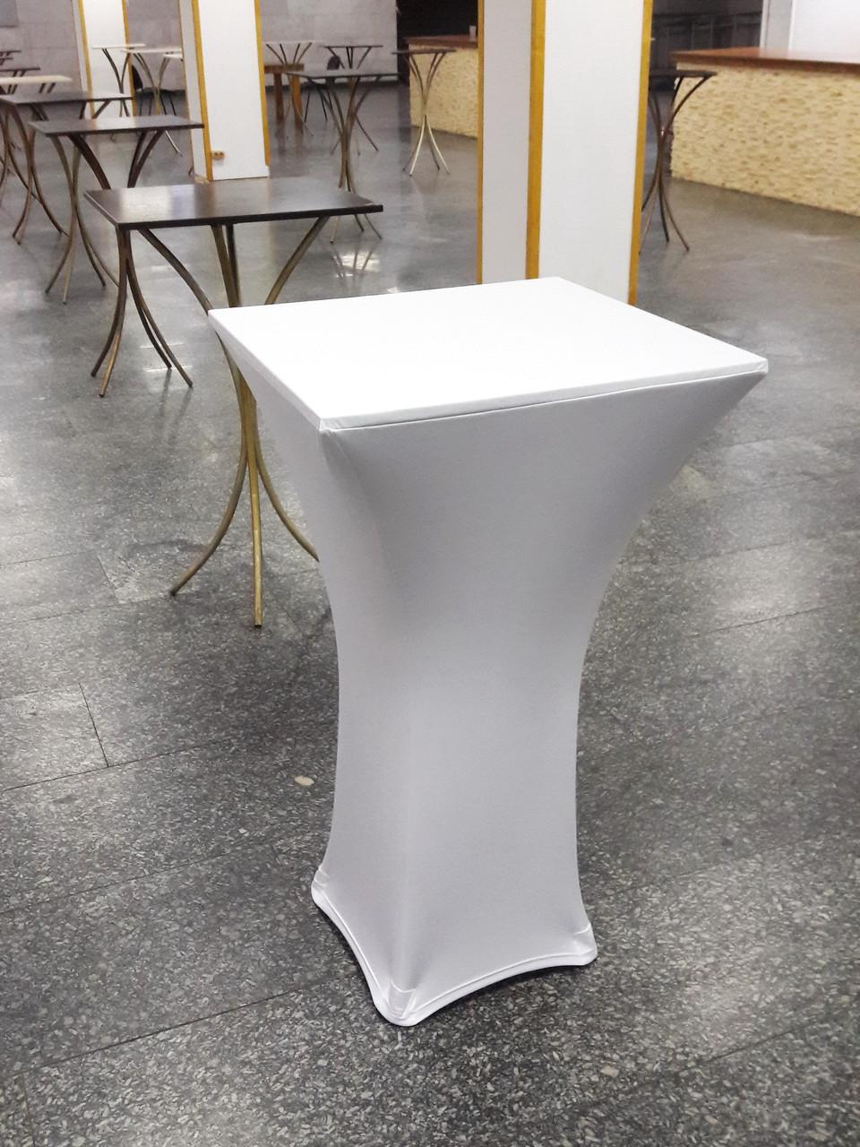 Стрейч чехол на стол 60х60/110 Квадратный Белый из плотной ткани Спандекс