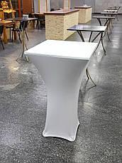 Стрейч чехол на стол 60х60/110 Квадратный Белый из плотной ткани Спандекс, фото 3