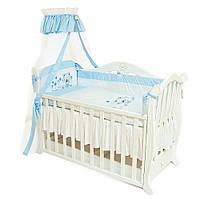 Детский постельный комплект Twins Evolution A-016 Лето 4 предметов, белый/голубой (5911)