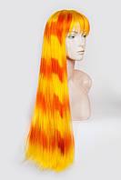 Длинный ровный парик №9,цвет желтый с оранжевым