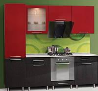 Кухя серии Штрих, фасад красно - черный, размер 2.3метра