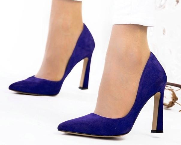 Туфли лодочки фиолетовые натуральный замш