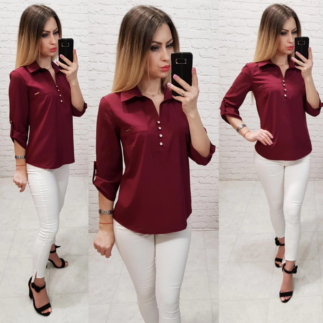 Блуза- рубашка  женская арт 828, цвет бордовый