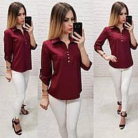 Блуза- рубашка  женская арт 828, цвет бордовый, фото 1