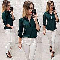 Блуза- рубашка  женская арт 828, цвет бутылочный