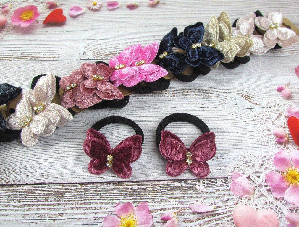 Дитячі гумки для волосся Метелики оксамитові 80072