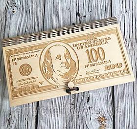 """Коробочка для сбора денег """"100 долларов"""" 19*11*3см"""