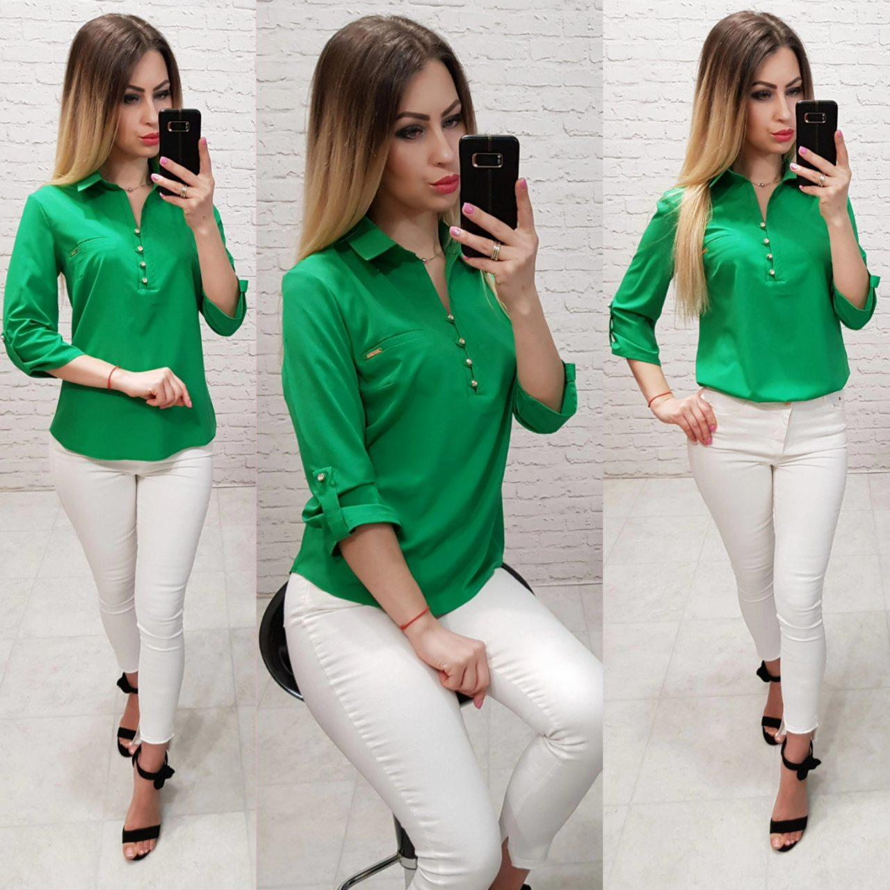 Блуза  женская арт 828, цвет зеленый
