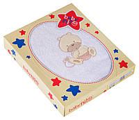 Полотенце Baby Nito BN-100 100x100  белый (мишка с бежевым)