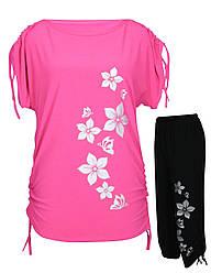 Летний костюм Цветы - туника-затяжки + капри-затяжки