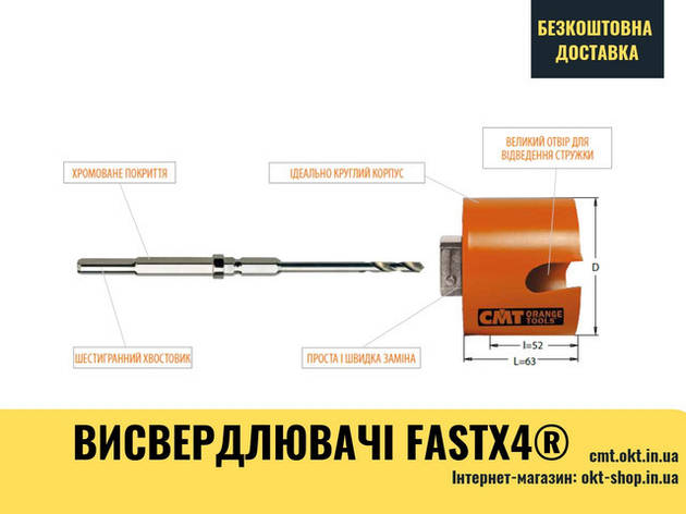 """Центрующее корончатое сверло для в Ø32 (1-1/4"""") и больше - Bi-Metal Plus 550-HS2 HSS, фото 2"""