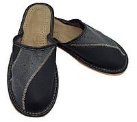 Домашние мужские кожаные тапочки, фото 1