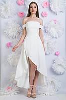 Белое ассиметричное платье с открытыми плечами