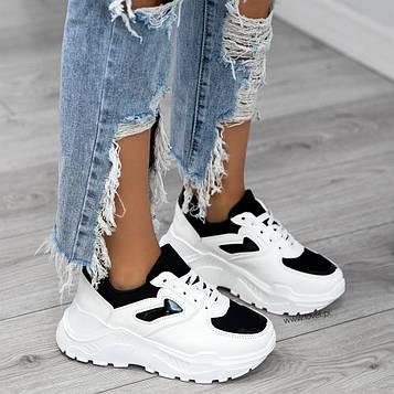 Кроссовки белые с черной вставкой копия бренда