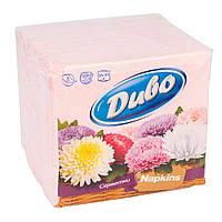 Салфетка гостевая Диво 24*25, 1-слойн, розовая