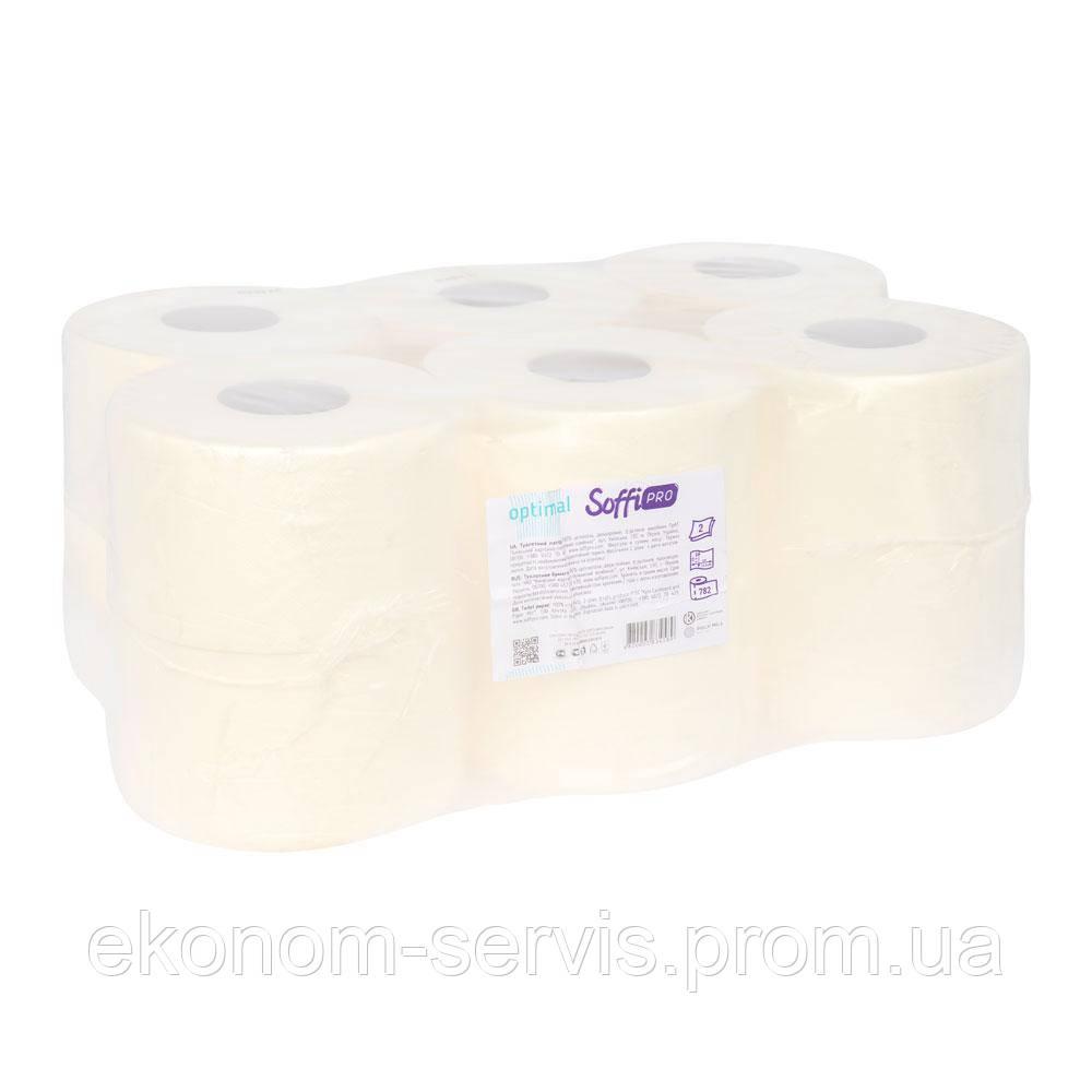 Туалетний папір SoffiPro Optimal 2 шари, 782 відриву, 12 штук.