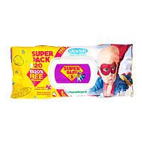 Салфетка влажная Super Pack Super Baby Ромашка и алоэ, с клапаном, 120 шт.