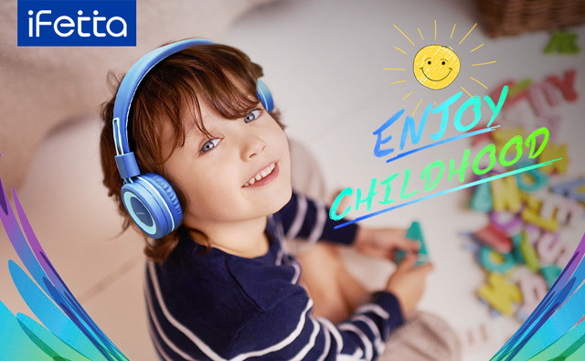 Детские наушники складные голубые