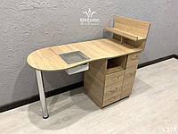 Складной маникюрный стол с мощной вытяжкой, стол для маникюра с ящиком карго. Модель V375 дуб сонома, фото 1