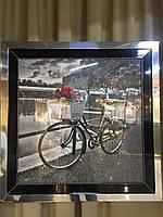 Картина в металлической раме под стеклом Велосипед