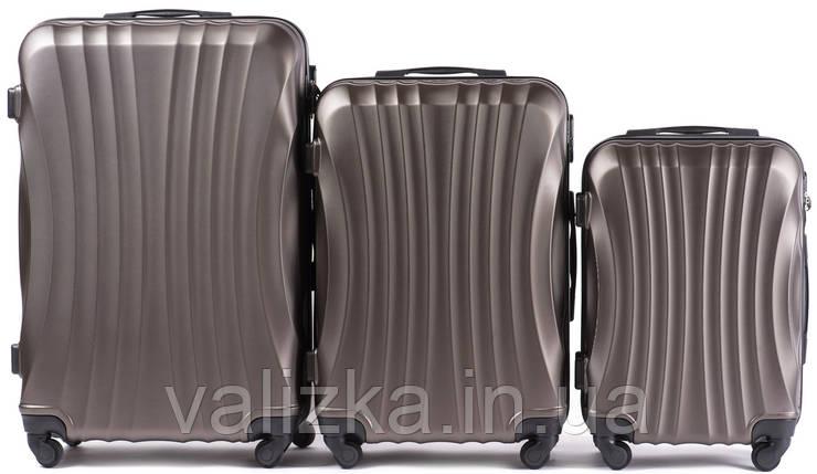 Комплект чемоданов из поликарбоната 3 штуки малый, средний, большой Wings ракушка темно-кофейный, фото 2