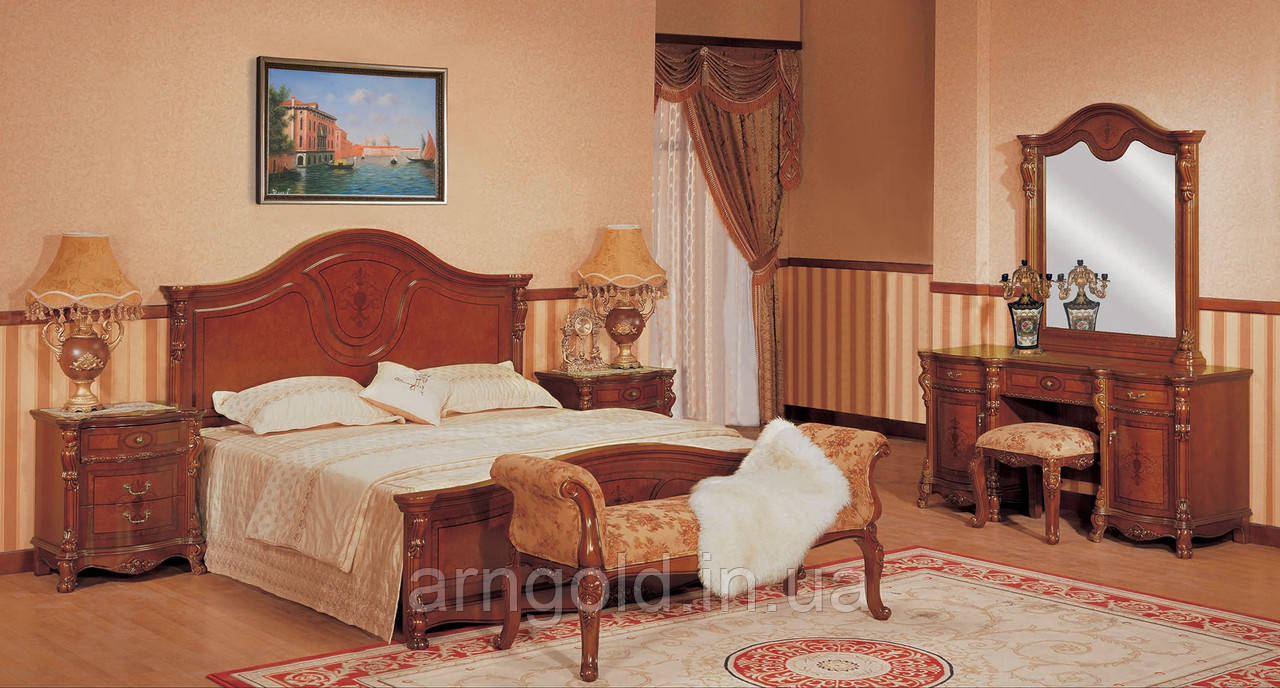 Спальня Ангелина со шкафом (кровать, 2 тумбочки, туал стол, пуф)