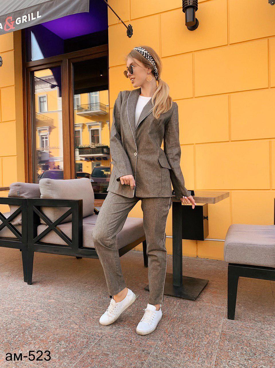 85de3d22ffbf Стильный женский льняной летний брючный костюм с пиджаком -  Интернет-магазин MonoStar в Одессе