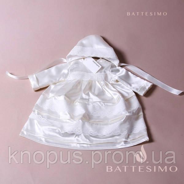 Крестильная атласная рубашка с шапочкой для девочки или мальчика, белая/молочная  БАТТЕСИМО, возраст 0-18 мес