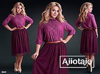 Женское платье джинсовое батал размеры 48-58 цвет бордо