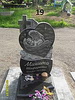 Дитячий пам'ятник хрест серце із черного граніту