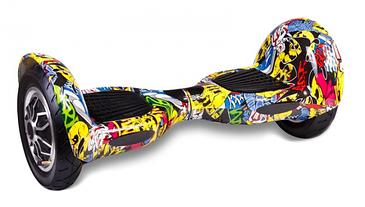 """Гироскутер гироборд Smart Balance Wheel 10"""" i10 с автобалансом и пультом Bluetooth Граффити с черепами"""