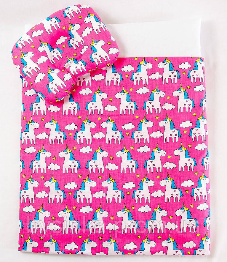 Летний комплект в коляску BabySoon Розовые пони одеяло 65 х 75 см подушка 22 х 26 см (572)