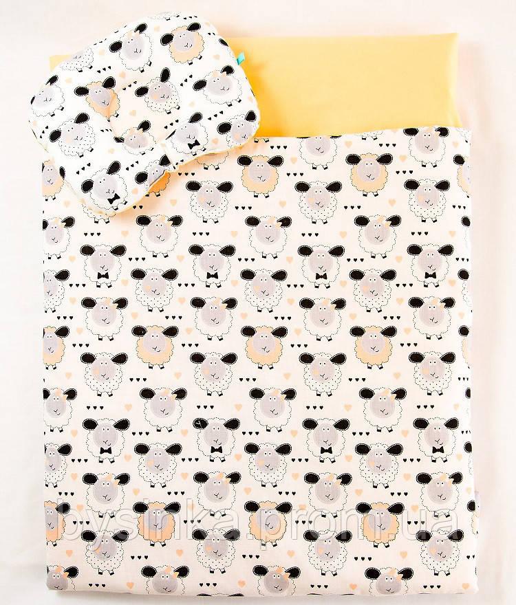 Летний комплект в коляску BabySoon Персиковые барашки одеяло 65 х 75 см подушка 22 х 26 см (573)