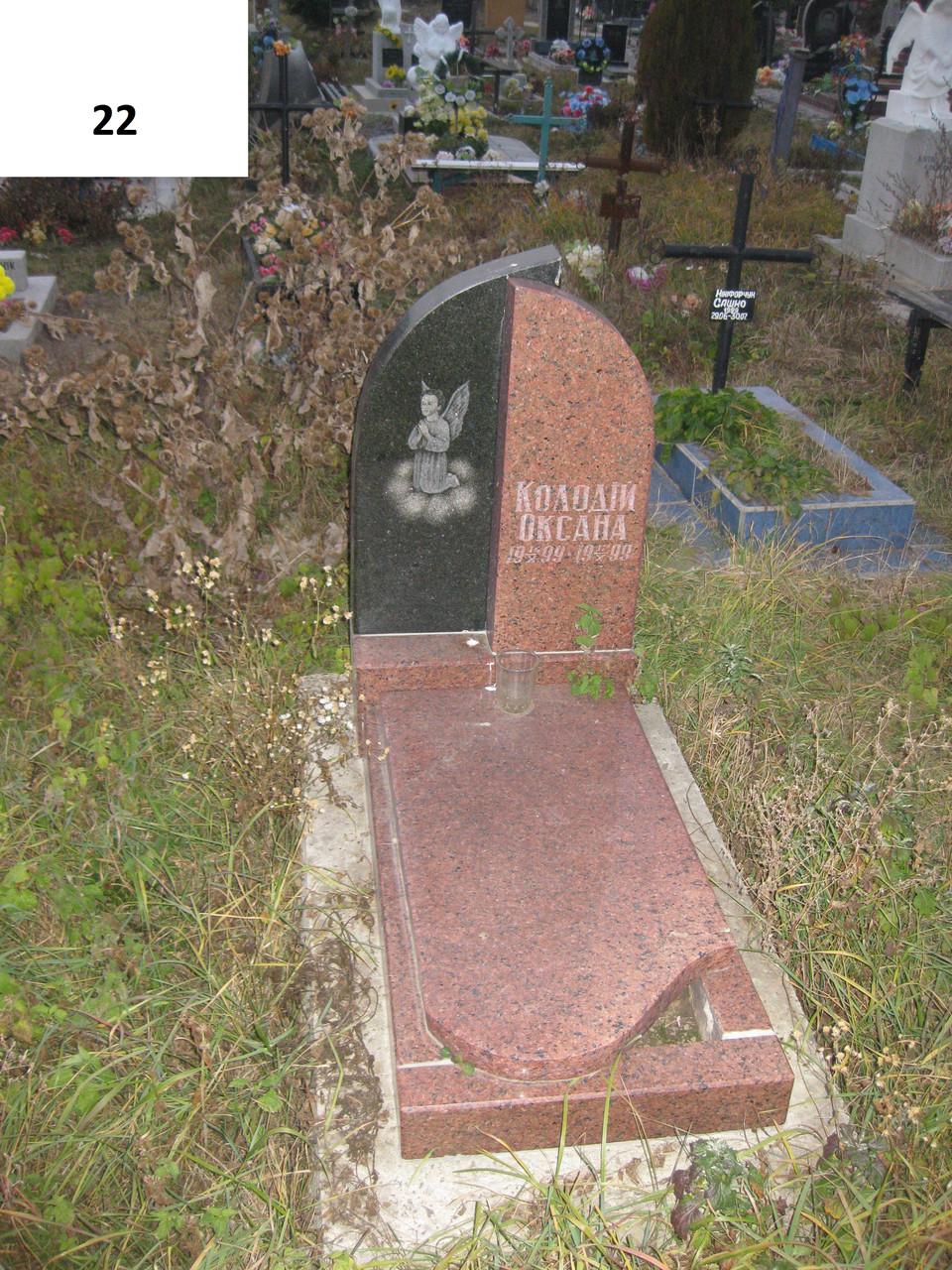Детский памятник на могилу черного и красного цвета с гранит и ангелом