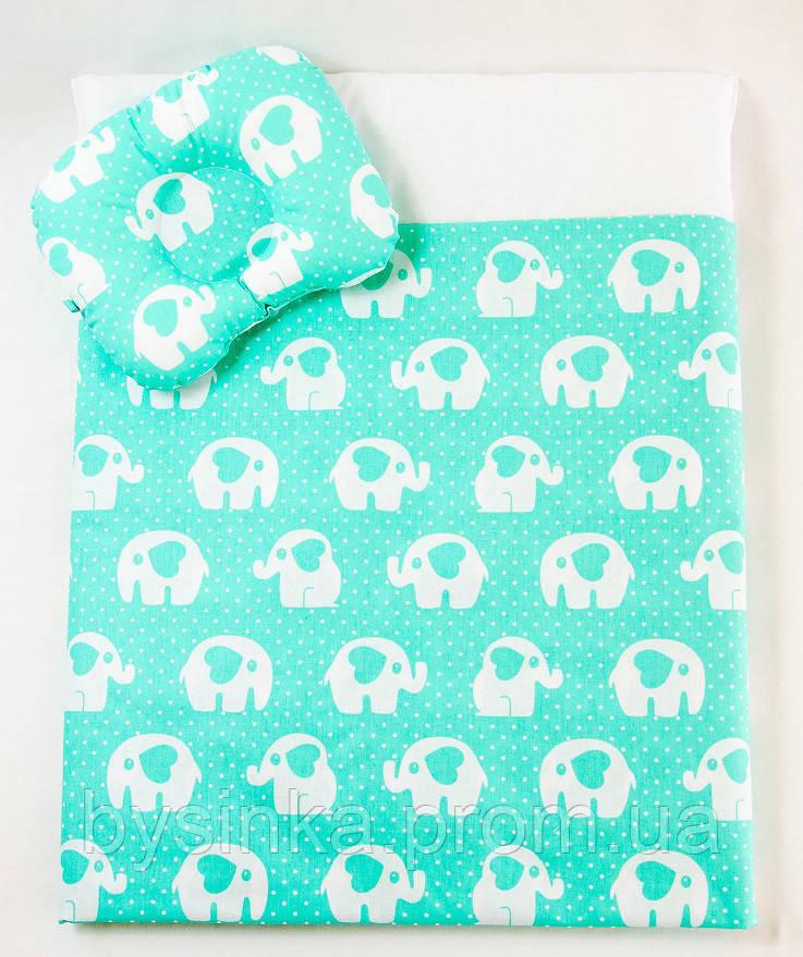 Летний комплект в коляску BabySoon Мятные слоники одеяло 65 х 75 см подушка 22 х 26 см (575)