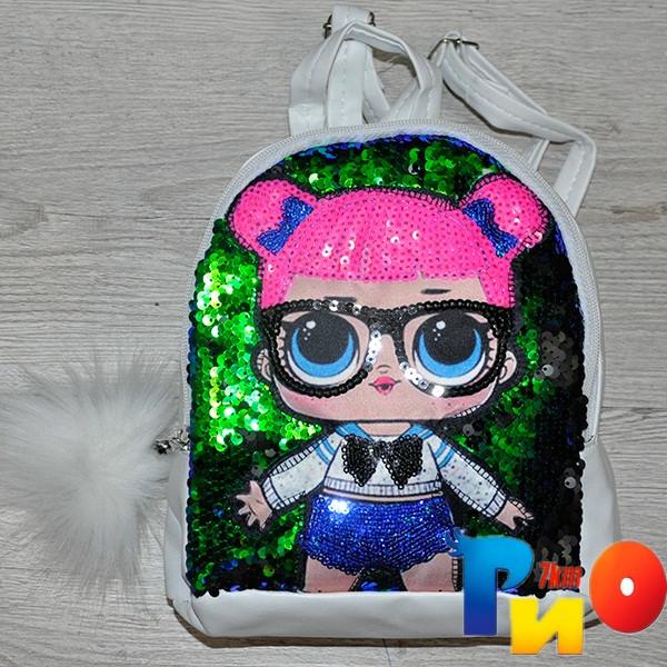 """Рюкзак для девочек с рис """"LOL""""размер 23 /18/10 см (мин.заказ-1 ед) Белый"""