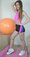 Женский розовый топ и шорты с цветными вставками для занятий на пилоне 40-48р