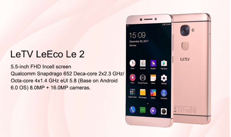 LeEco Le 2 (Rose Gold) +пленка+чехол / Snap 652 / 3/64GB / камера 16+8Мп/  3000мАч быстрая зарядка