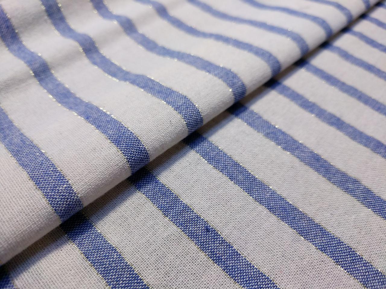 Коттон прованс полоска с люрексом 6 мм, голубой на молочном