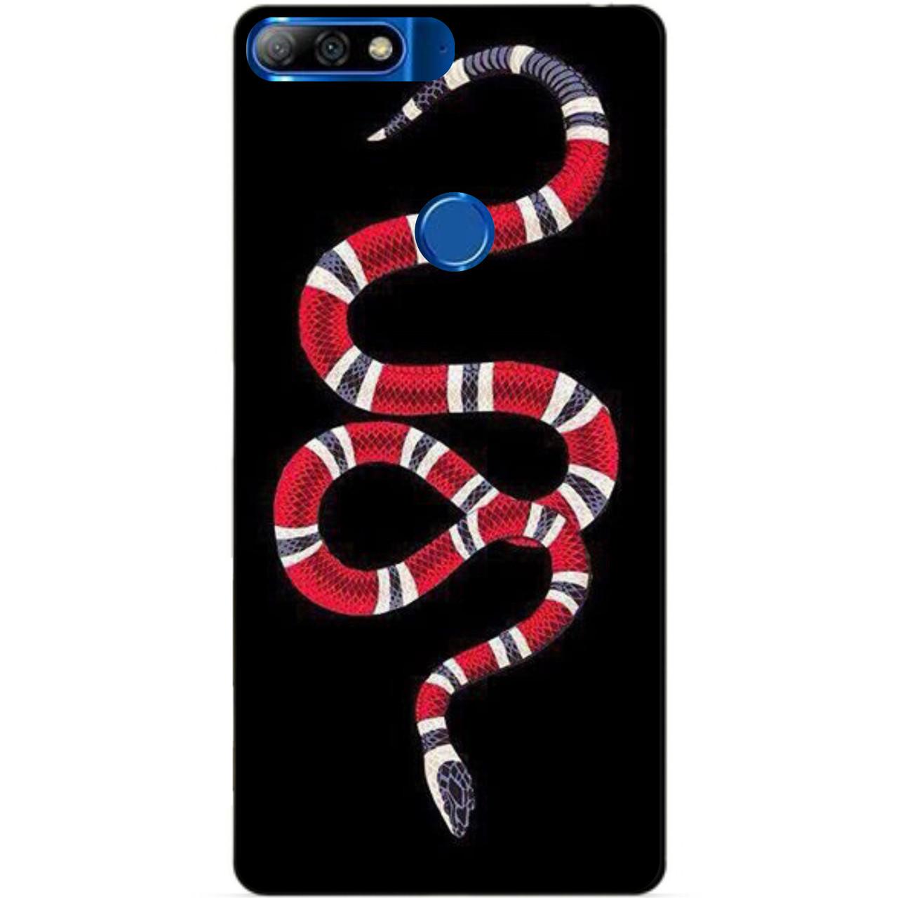 Силиконовый бампер чехол для Huawei Y7 Prime 2018 с рисунком Змея Gucci