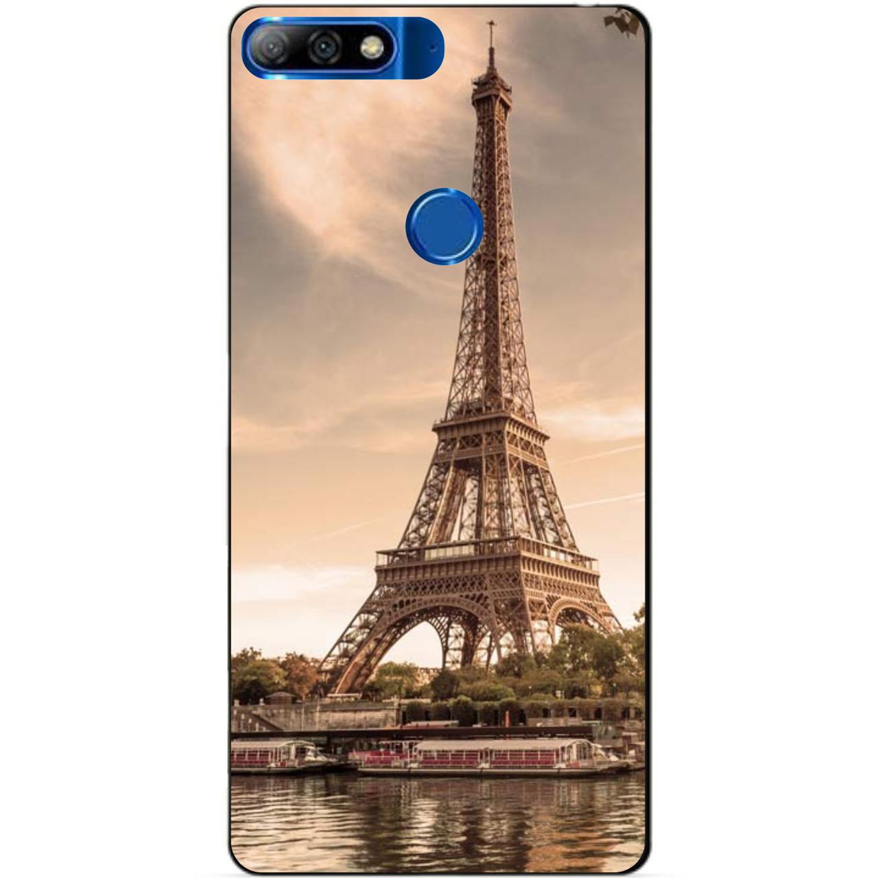 Силиконовый бампер чехол для Huawei Y7 Prime 2018 с рисунком Париж